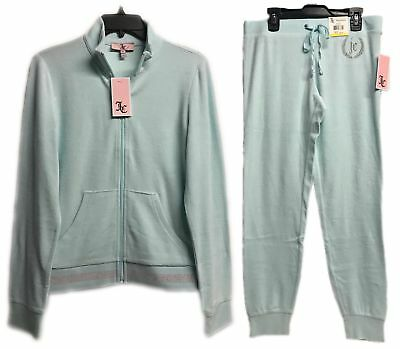 Juicy Couture Light Blue Glow Velour Tracksuit 2-Piece Jacket & Pants Brand New 2 Piece Jacket Pants