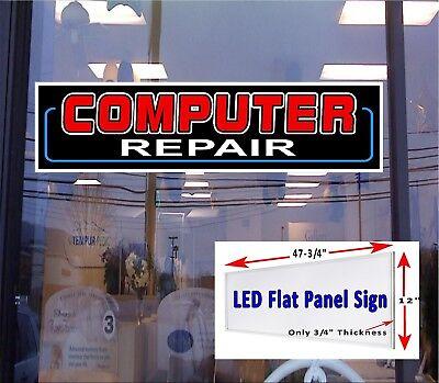 Computer Repair Led Illuminate Window Sign 48x12 Led Flat Panel Free Shipping