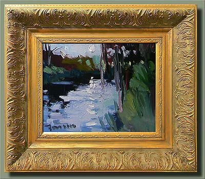 JOSE TRUJILLO Original FRAMED Oil Painting Impressionism Tonalist Pond Moon Sky