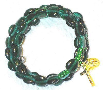 Rosary bracelet green Czech glass heart beads on memory wire ᴶ Q3