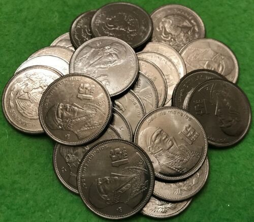 1986 Mexico 1 Peso Un Peso Roll UNC World Coin - Mexico Lot of 20 Coins