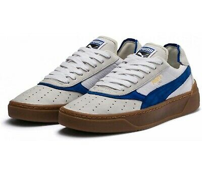 Puma Cali-O Vintage White / Surf The Web Blue Leather Retro Trainers UK 6 - 11