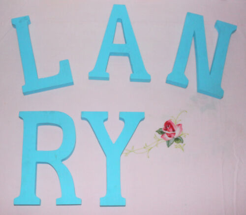 """Set of 5 Wood Wall Hanging Blue Alphabet Letters 6 3/4"""" x 4 1/2"""" L A N R Y"""