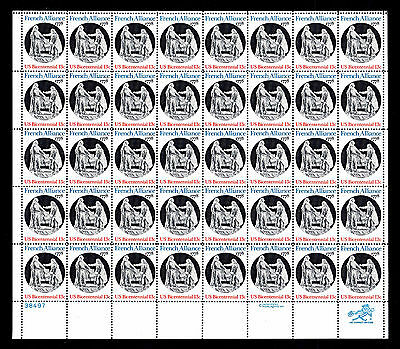 Us  1753 French Alliance Commemorative   Sheet Of 40 Mognh   Vf  Esp 406