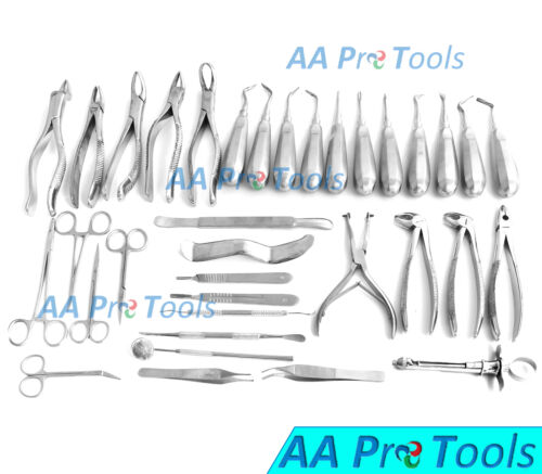 35 Pcs Oral Dental Extraction Surgery Extracting Elevators Forceps Instruments
