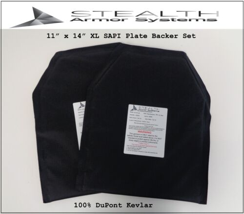 Two - 11 x 14 XL SAPI sized Level 3-A Plate Backers using 100% DuPont Kevlar