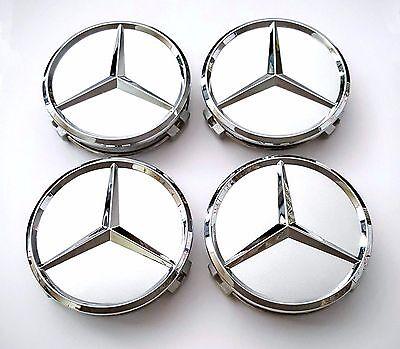 4 PCS 75mm Wheel Center Hub Caps Cover Badge Emblem For Mercedes Benz Silver