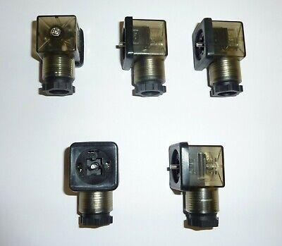 Solenoid Valve Coil Din 43650a Pg11 Dc 3 Pin Plug Connector Led Light 5 Pieces