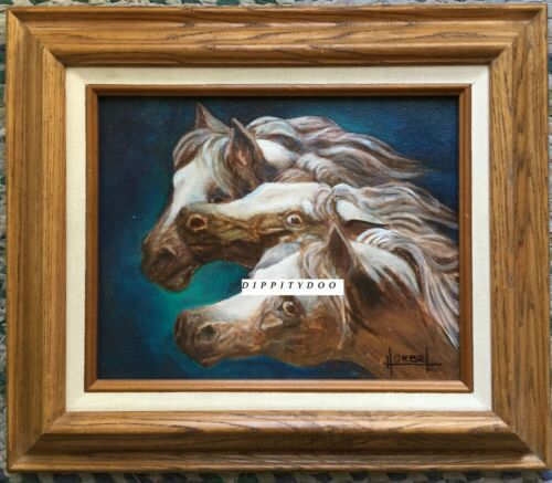 Original oil painting. 3 Arabian horses. Signed Beverly Hoebel. Calif. artist.
