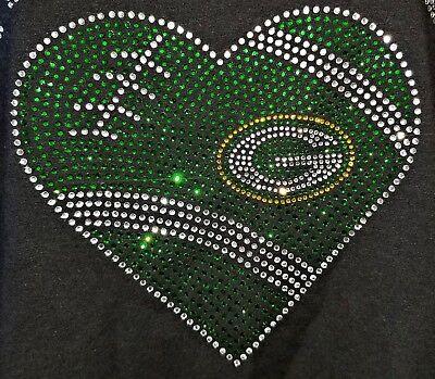 GreenBay Packers Heart Rhinestone Bling V-neck ladies (Packers Rhinestone)