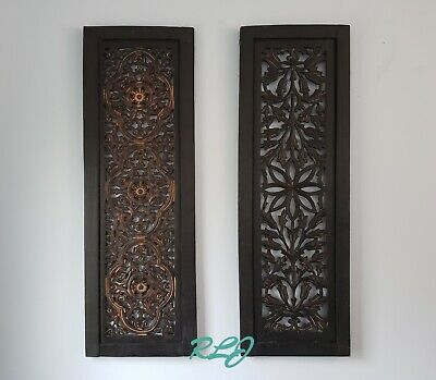 Decorative Rustic Cutout Lattice Carved Scrolling Dark Wood Set/2 Wall Panels  ()