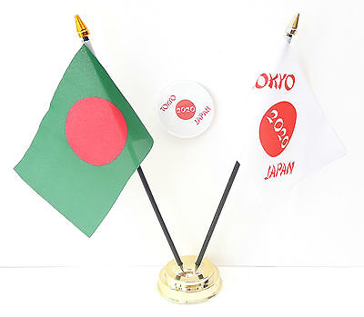 Bangladesh & Tokyo Japan Olympics 2020 Friendship Desk Flags & 59mm BadgeSet