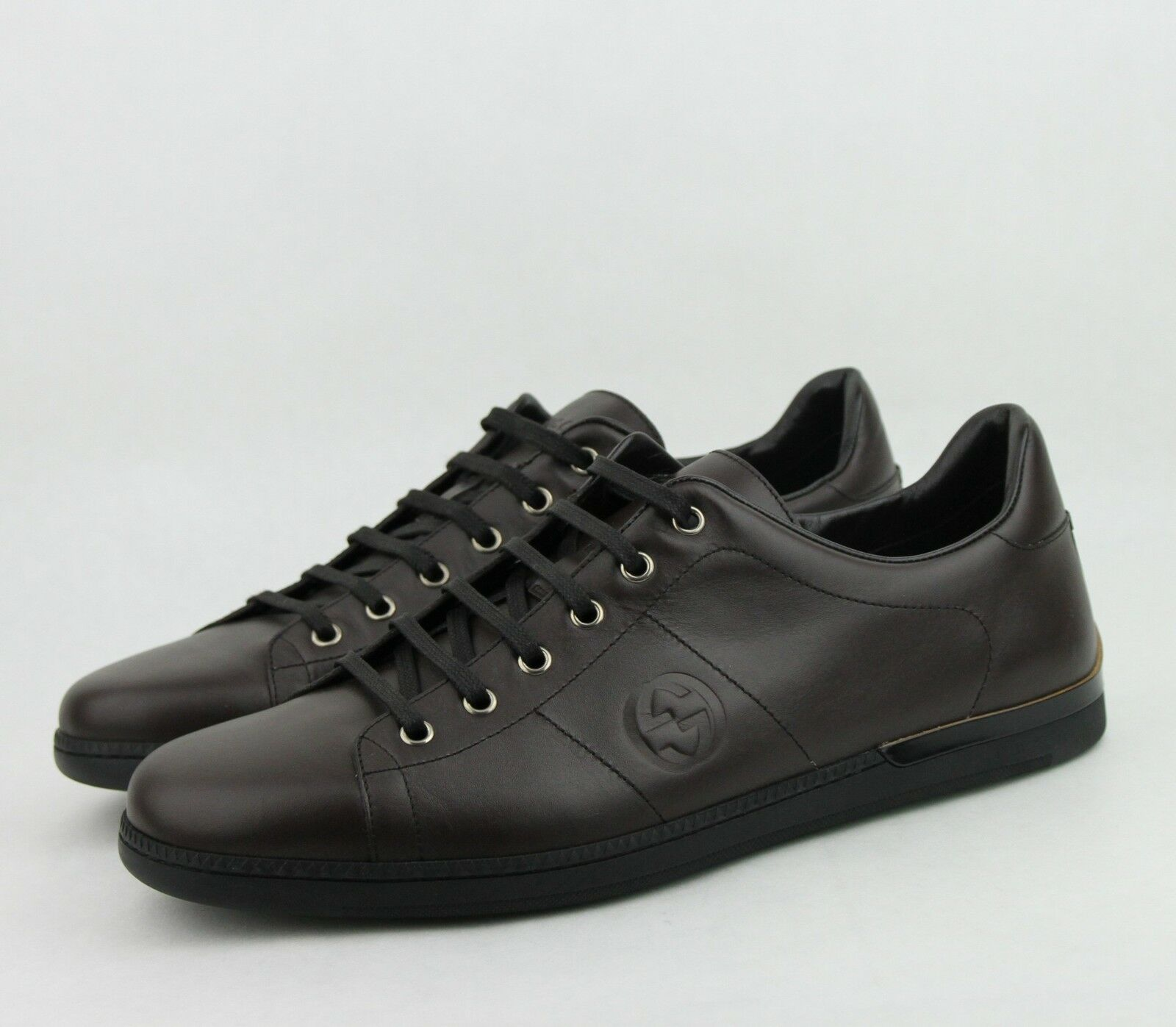 $620 New Gucci Men's Leather Lace-up Cocoa Sneakers Shoes Brown 329843 2140 1