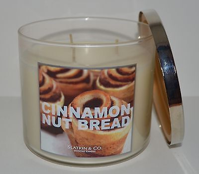 NEW BATH & BODY WORKS CINNAMON NUT BREAD SCENTED CANDLE 3 WICK 14.5 OZ LARGE HTF