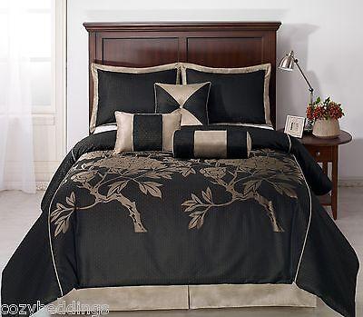 king comforters nuit 7pc jacquard comforter set black khaki full queen king calking bed