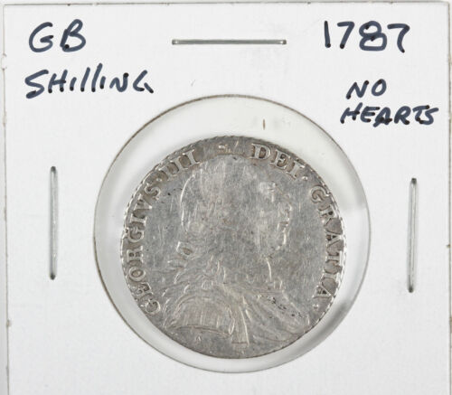 1787 Great Britain UK Silver Shilling George III No Hearts