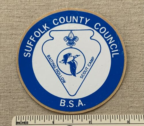 NOS Vintage BAITING HOLLOW CAMP Boy Scout STICKER DECAL Suffolk County Council