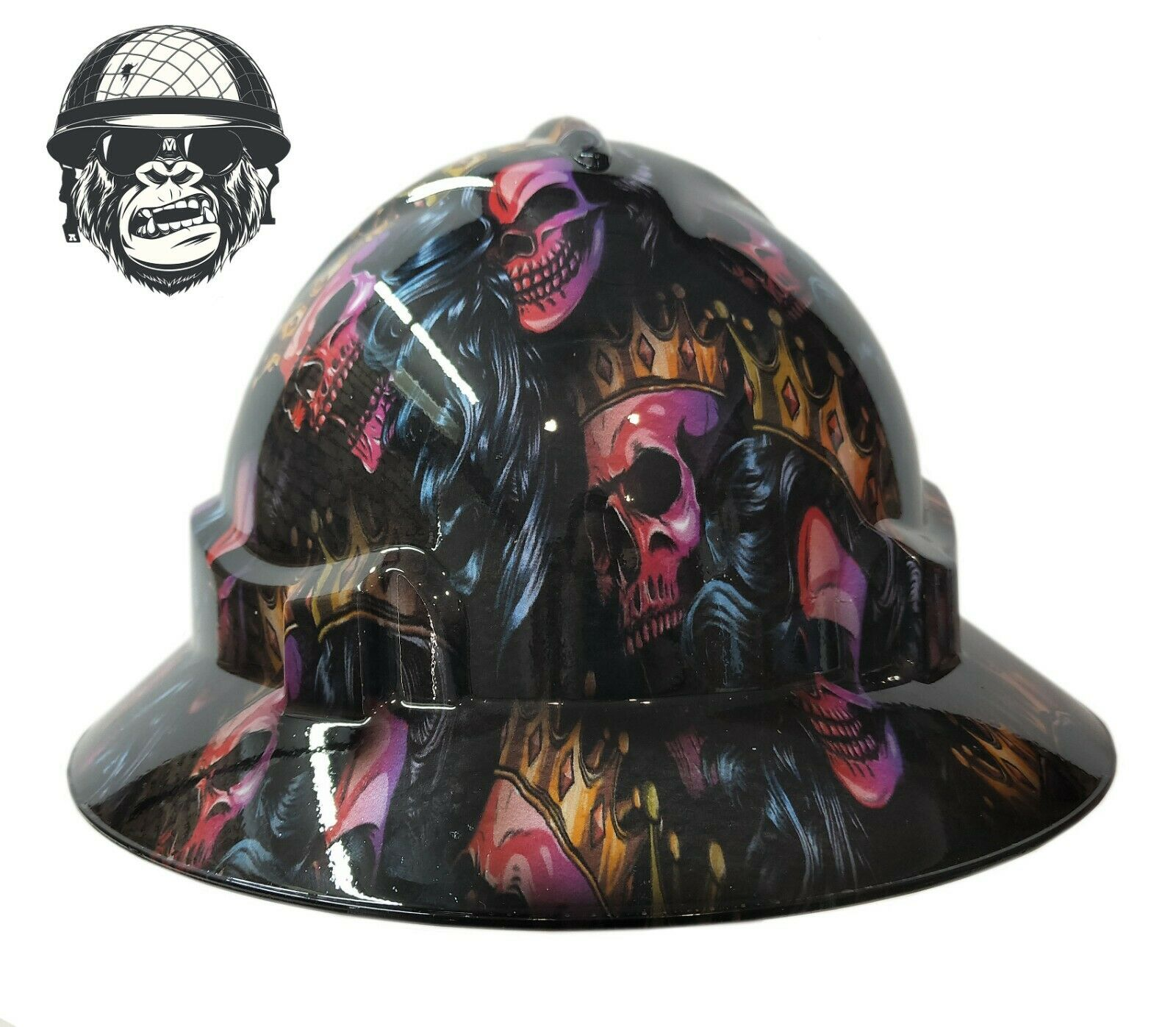 Custom Hydrographic Wide Brim Safety Hard Hat Mining KINGS & QUEENS WIDE