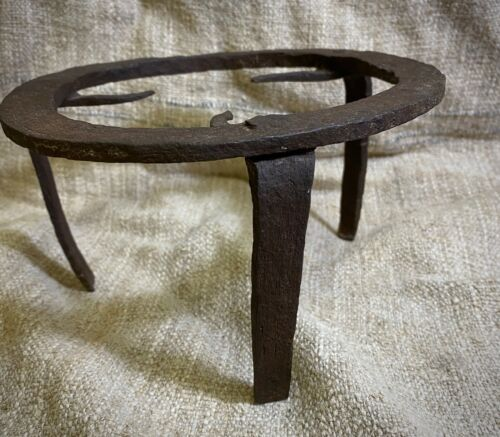 Antique Vntage old hand forged fireplace iron trivet pot stand Slovakia