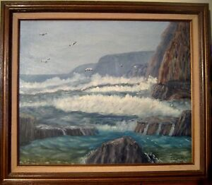 Original-oil-Seascape-painting-on-canvas-signed-J-J-Warren-1960-framed