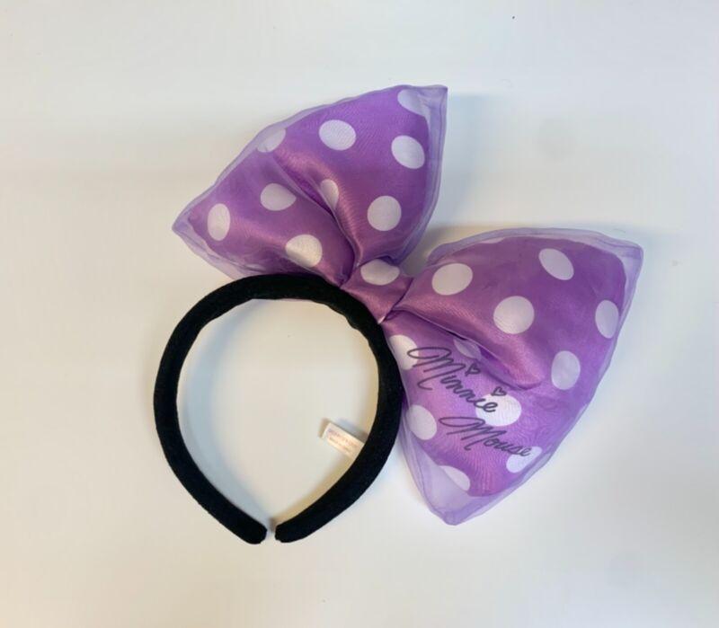 Tokyo Disney Headband Minnie Big Ear Purple Polka Dot Bow Hairband Costume Japan