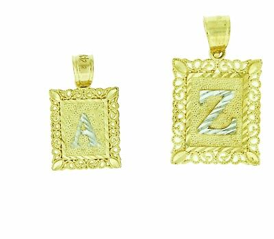 (14k Solid Gold 2 Tone Diamond Cut Initial Letters A to Z Square Pendant Charm)