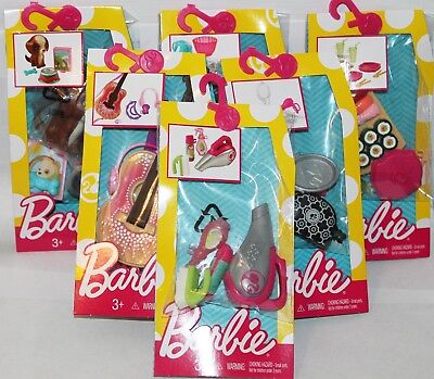 6 Barbie Packs Baking Music Pack Guitar Makeup Accessory Cleaning Sushi Food Dog