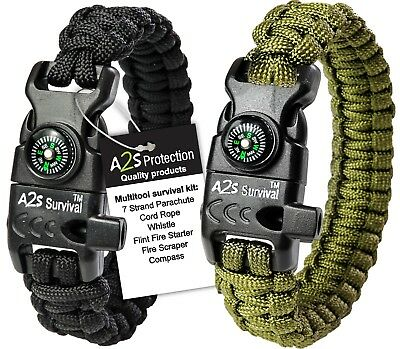 Paracord Bracelet K2-Peak-2pcs- Compass, Fire Starter, Emergency Knife & Whistle - Paracord Compass