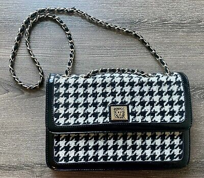 Anne Klein Black Black White Houndstooth Gold Chain Handbag Purse