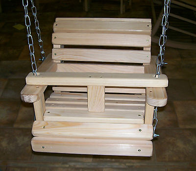 Baby Swing Wooden Unfinished Cypress with Hanging Chains Made in USA