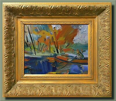JOSE TRUJILLO ART FRAMED OIL CANVAS PAINTING IMPRESSIONIST ROW BOAT ORANGE FALL