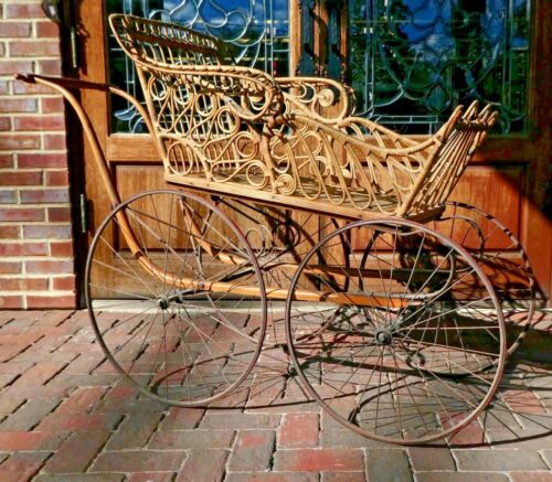 Antique Victorian WICKER 4-Wheel BABY PRAM CARRIAGE STROLLER w/Parasol Holder
