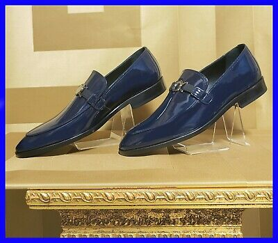NEW VERSACE COLLECTION DARK BLUE PATENT LEATHER LOAFER SHOES 42 - 9