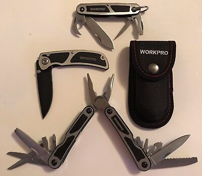 WORKPRO 3 PC MULTI-PURPOSE TOOL SET KNIFE POCKET KNIFE MULTI-TOOL POUCH W000316A