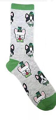 K Bell Ladies ST. Patricks Day Novelty Crew Socks DOGS/TOP HATS - St Patricks Day Socks