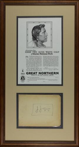 TWO GUNS WHITE CALF RARE BUFFALO NICKEL HAND SIGNED PICTOGRAPH FRAMED w/COA