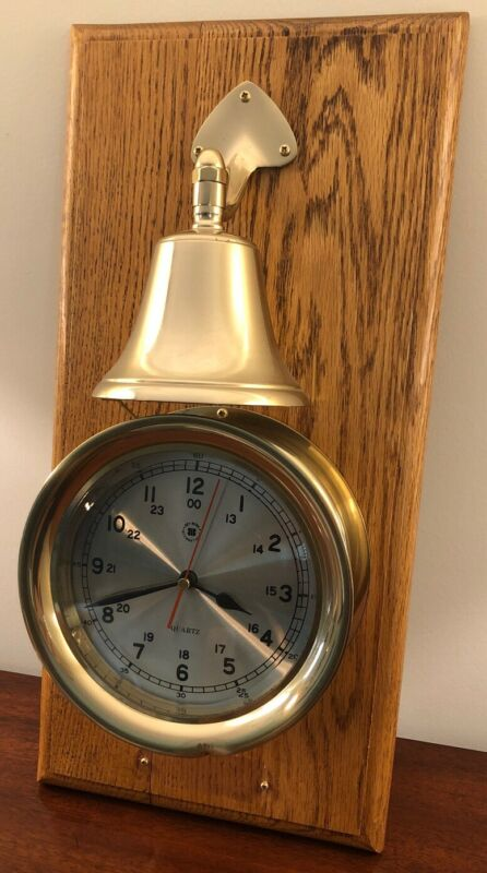 Bey Berk Brass Quartz Clock and Ship