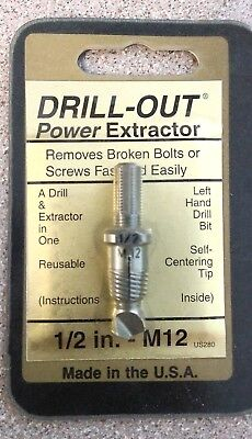 Drill Out Power Bolt and Screw Extractor 1/2 in. - M12 - USA
