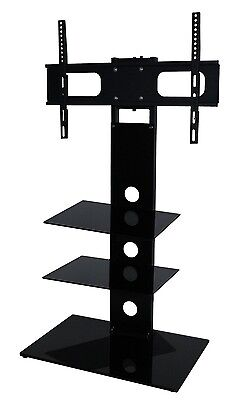 """Black Glass TV Stand With Bracket Cantilever For 26 - 43"""" Television Two Shelf"""