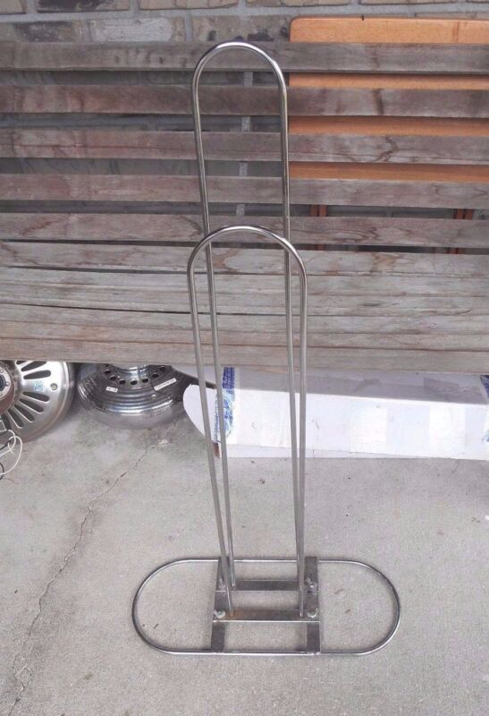 """CHROME METAL FLOOR STANDING SHOPPING BAG DISPLAY STAND 34"""" INCHES TALL"""