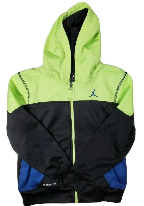 Boys jordan full zip Therma Fit Hoodie black blue yellow size medium