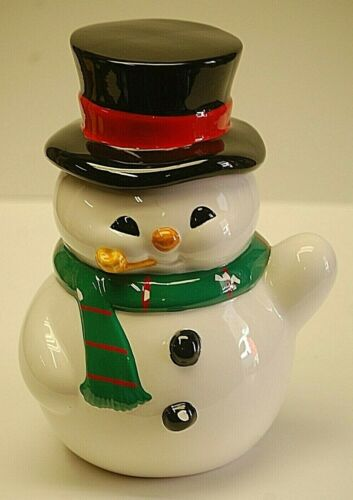 Teleflora Snowman Cookie Jar Yellow Pipe Black Top Hat Christmas Holiday Xmas