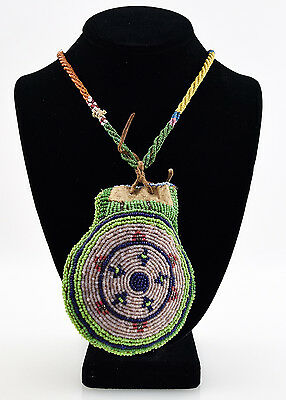 Apache Beaded Bag with Original Beaded Necklace, c. 1890