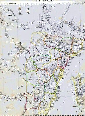 Echte 175 Jahre alte Landkarte NEW SOUTH WALES Brisbane Melbourne Sidney 1842