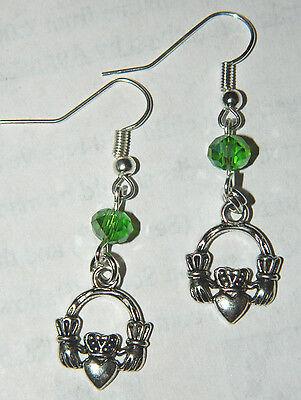 Claddagh DANGLE EARRINGS Handmade Crystal Silver Celtic Ireland Irish Hand -