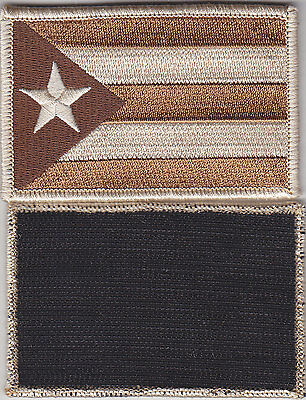 Puerto Rico PR Territorial Flag HOOK FASTENER BACK Patch DESERT TAN/BROWN