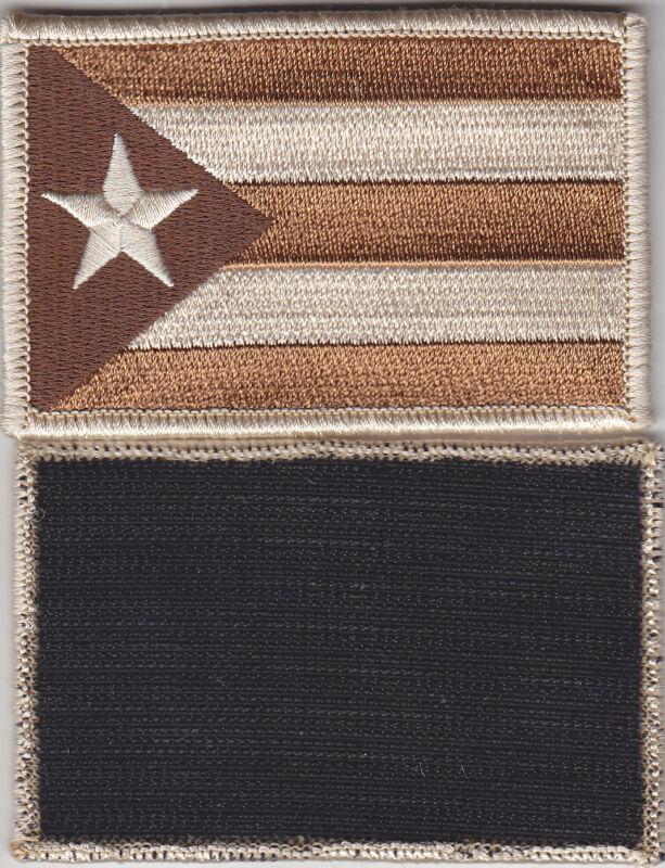 Puerto Rico PR Territorial Flag HOOK FASTENER BACK Patch DESERT TAN/BROWN