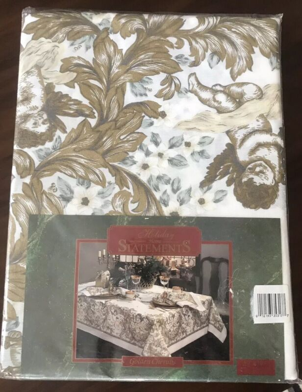 "Holiday Home Statements Golden Cherubs Tablecloth Oblong 60""x 84"" NIP"