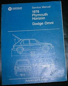 NICE-Mopar-78-Dodge-Omni-Plymouth-Horizon-Service-Manual-VGC-Advanced-Edition