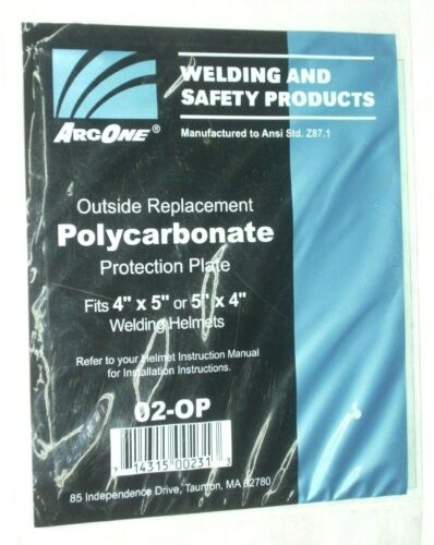 Arc One 02-OP Clear Outer Replacement Lens for Welding Helmet 4 x 5 inch Poly